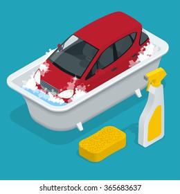Car wash service. Flat 3d isometric vector illustration.