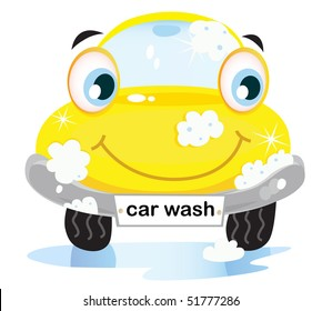 Car wash service - happy yellow automobile with soap bubbles. Vector illustration of happy yellow car in car wash cleaning service. Vector cartoon illustration.