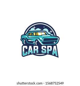 Car Wash Service Logo. Car Spa Logo Design Vector Template