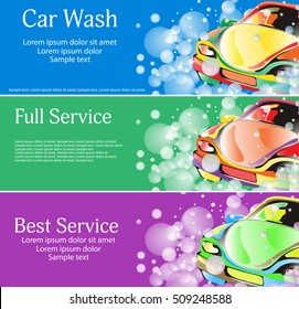 Car wash. A set of banners for your design. Vector illustration.