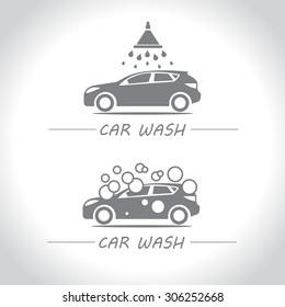Car wash, set of vector logos.
