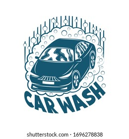 Car wash sign on a white background.