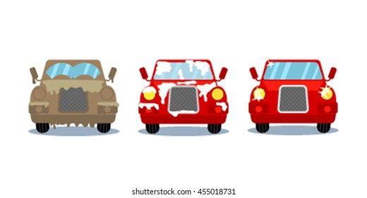 Car wash stages. Dirty, in the foam and clean cars in cartoon style. flat vector illustration isolate on a white background