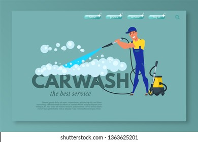 Car wash vector landing page template. Vehicle maintenance and care service website homepage. Car cleaning with high pressured water and soap web banner design. Handyman flat character