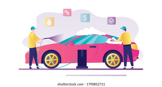 Car washing service banner. Tiny people in uniform washes modern car with soap and water. Serviceman at work. Flat style vector illustration isolated on white background.