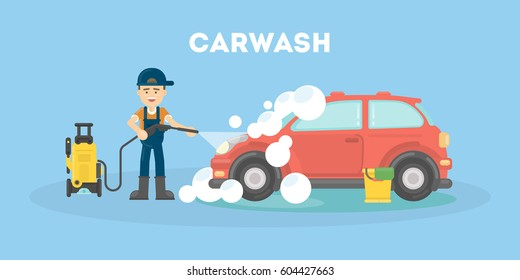 Car washing service. Funny man in uniform washes red car with soap and water.