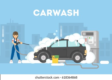 Car washing service. Funny woman in uniform washes red car with soap and water.