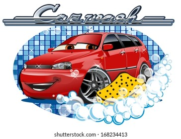 Car Washing sign with sponge. EPS-10 separated by groups and layers for easy edit.