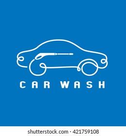 Car washing vector logo, emblem, sign. Design graphic element of car silhouette