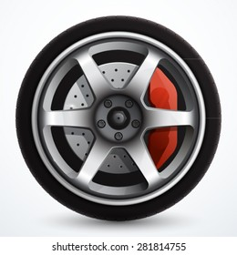 Car wheel with brake gear