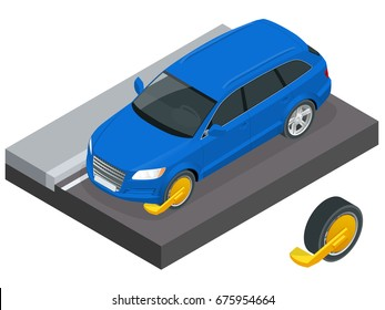 Car wheel clamp concept. Isometric Yellow triangle wheel clamp locked with messing lock and chain on an illegally parked car. Parking zone symbol stock vector illustration.