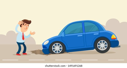 The car wheel fell into a pit on the road. Pothole road, car damages. Danger on the highway. Vector illustration, flat design, cartoon style. Side view.