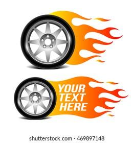 Car wheel with fire flame (car service emblem)