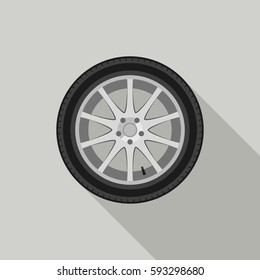 Car wheel flat icon with long shadow.