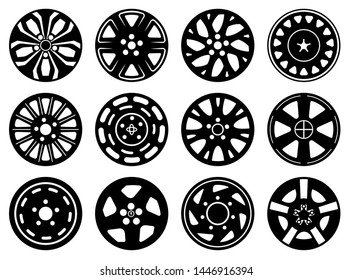 Car Wheel Hubcap Vector Illustration Silhouette
