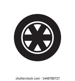 Car wheel icon, isolated flat illustration