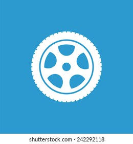 car wheel icon, isolated, white on the blue background. Exclusive Symbols