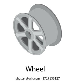 Car wheel icon. Isometric of car wheel vector icon for web design isolated on white background