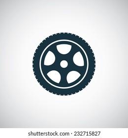 car wheel icon on white background