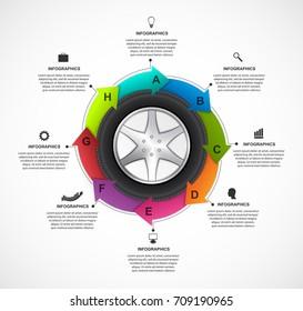 Car Wheel Infographic Design Template. Vector illustration.