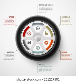 Car wheel, infographic elements, eps 10