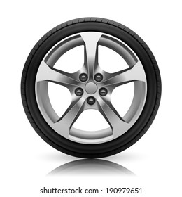 Car wheel. Isolated on white background