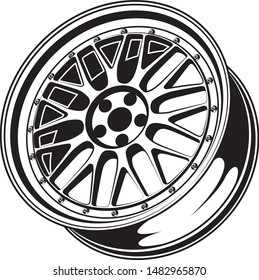 car wheel rim vector silhouette, icon, logo, monochrome, color in black and transparent for conceptual design