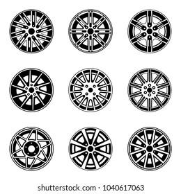 Car wheel and rims icon set. Vector illustration