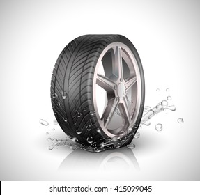 Car wheel with splashing water in motion blur on white background .Vector illustration EPS10
