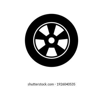 car Wheel - tire icon vector. Vector illustration, flat design.
