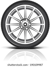 Car wheel in vector (EPS 10). Shadows and reflections are in the separate layers.