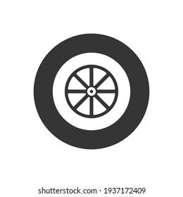 Car wheel white icon. Car wheel isolated. Vector illustration