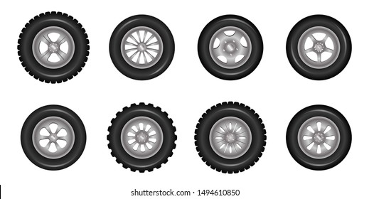 Car wheels icons detailed photo realistic vector set. Vector illustration eps10.