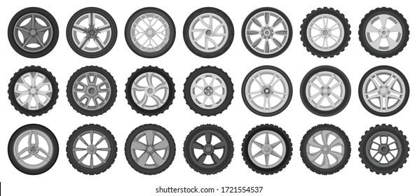 Car wheels isolated cartoon set icon. Vector illustration vehicle tire on white background.Cartoon vector set icon car wheels .