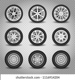Car wheels set isolated on transparent background