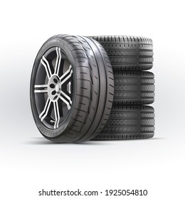 Car wheels set. New tires pile isolated on white. Wheel car, Car tire, Aluminum wheels isolated on white background. Group of tires. High detail vector.