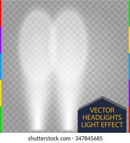 Car white headlights glow beam light effect on transparent background