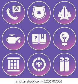 Car, window, blueprint, aeroplane, shield, faq, help, lightbulb icon set suitable for info graphics, websites and print media and interfaces
