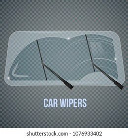 Car windscreen wipe glass realistic composition with isolated wind shield and flat wiper images on transparent background vector illustration