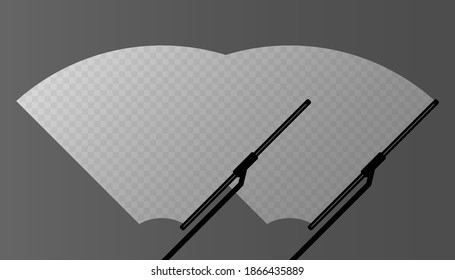 Car windscreen wiper glass, two wiper cleans the windshield on gray background. Flat design. Vector illustration.