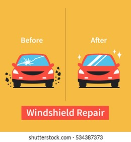 Car windshield replacement concept. Car window before and after repair. Vector illustration.