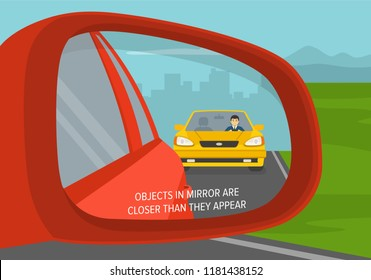 Car wing mirror. Back side view. Objects in mirror are closer than they appear. Flat vector illustration.