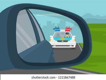 Car wing mirror. Back side view. Police chasing criminal in a car on the highway. Flat vector illustration.