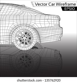 Car Wireframe | EPS10 Vector