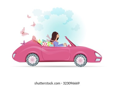 Car woman in pink convertible with shopping bags