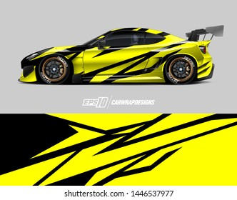 Car wrap decal design concept. Abstract racing background for wrapping vehicles, race cars, cargo van, pickup trucks and racing livery.
