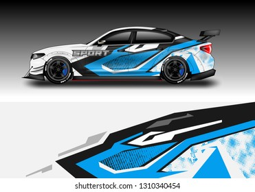 Car wrap decal design vector. Graphic vehicle, race car, rally, livery
