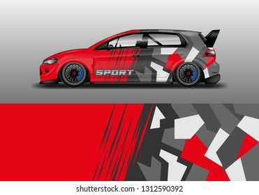 Car wrap decal geometric style design vector. Graphic abstract background designs for vehicle