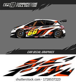 Car wrap decal graphic. Abstract stripe racing and sport background. Full vector Eps 10.