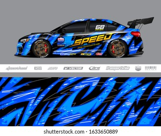 Car wrap decal graphic vector kit. Abstract stripe racing background designs for vinyl wrap race car, cargo van, pickup truck, adventure vehicle. Eps 10